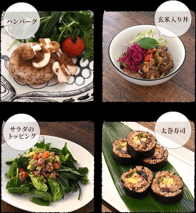ハンバーグ、玄米入り丼、サラダのトッピング、太巻寿司